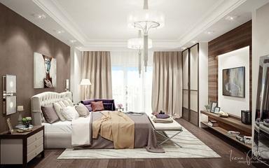 Barna falszín ötletek modern hálószobába