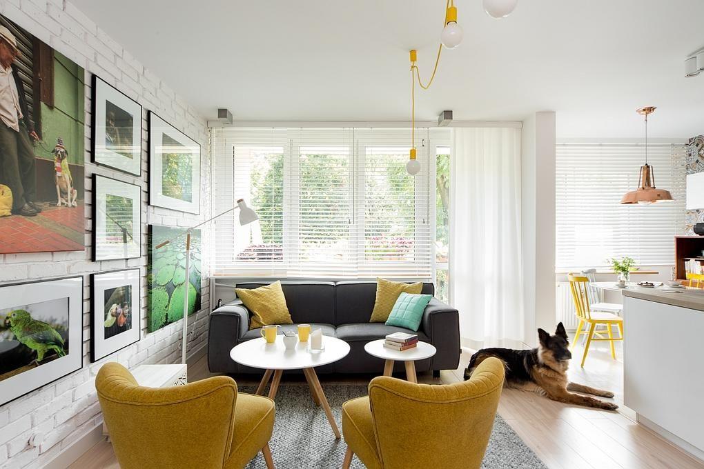 Világos nappali ötlet sárga fotel