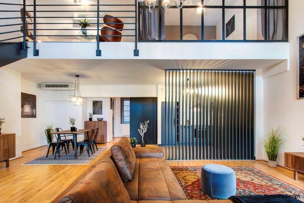 Nappali és étkező budapesti loft lakás
