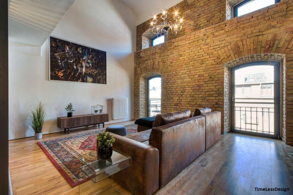 Nagy nappali loft lakásban Malom Loft