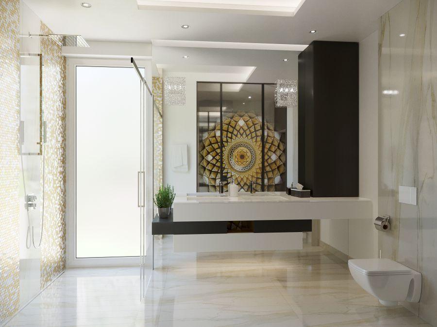 Mozaik burkolat fürdőszobában