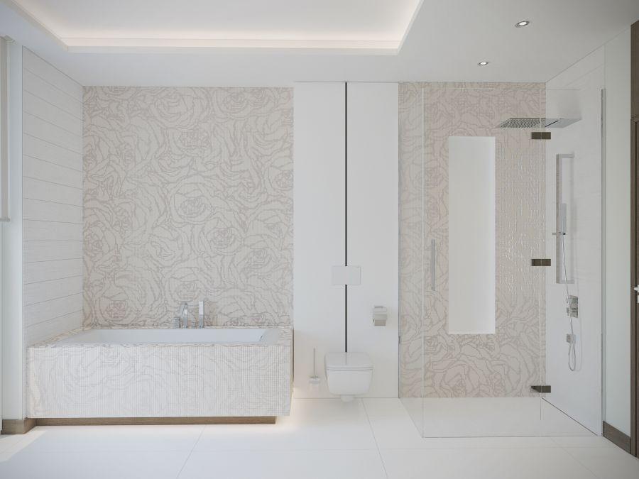 Szülői fürdőszoba  mozaik mintás