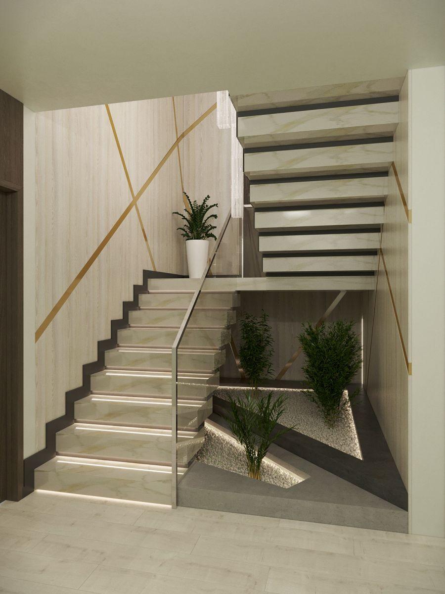 Dísznövények és ledvilágítás a lépcső alatt