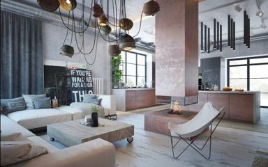 Városi stílusú szerethető otthon loft környezetben, profi lakberendezéssel
