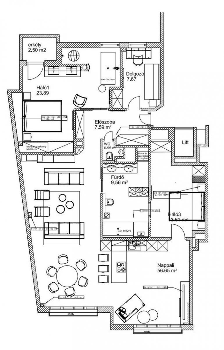 120 nm-es budapesti lakás alaprajza