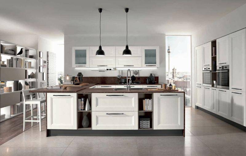 Modern klasszikus fehér szigetes konyhabútor