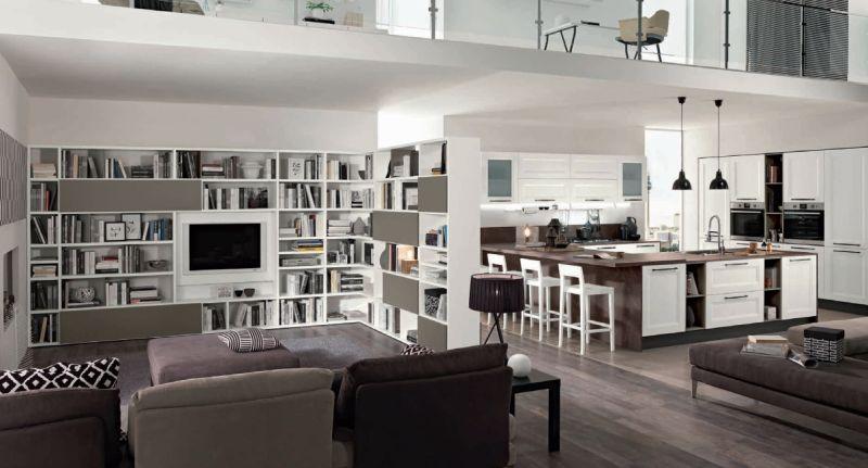 Modern egyterű nappali olasz konyhabútor