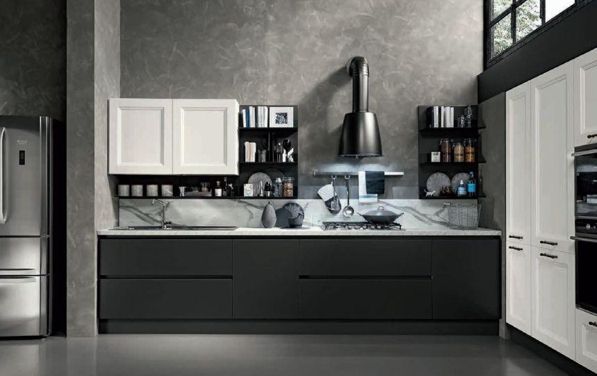 Garfitszürke konyhabútor fehér elemekkel