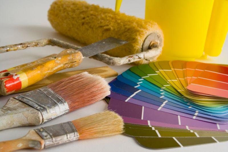 Festőhenger, ecset, színminta