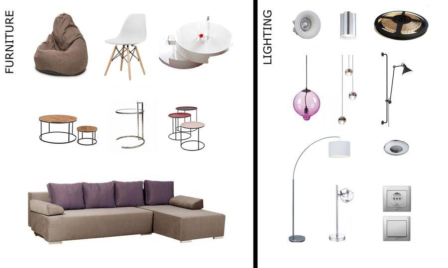 Bútorok lámpák az enteriőrben