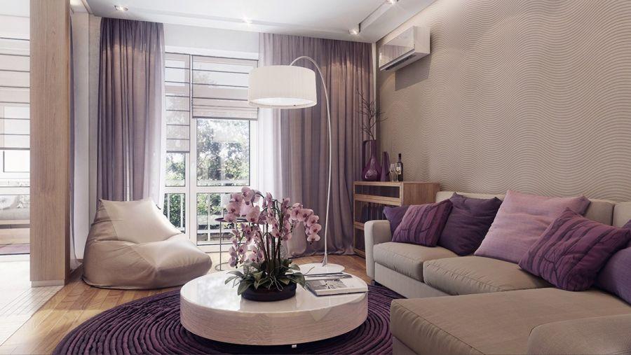 Homok színű nappali és világosbarna falszín