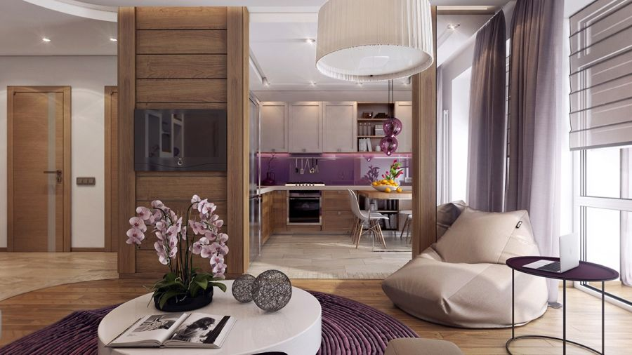 Babzsák a nappaliban, lila konyhafal burkolat