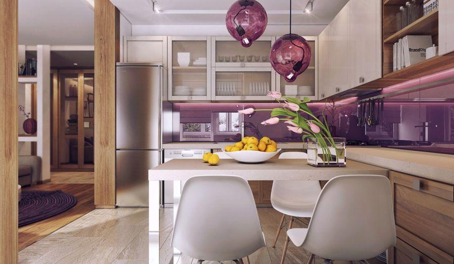 Nőies konyha lila konyhafal