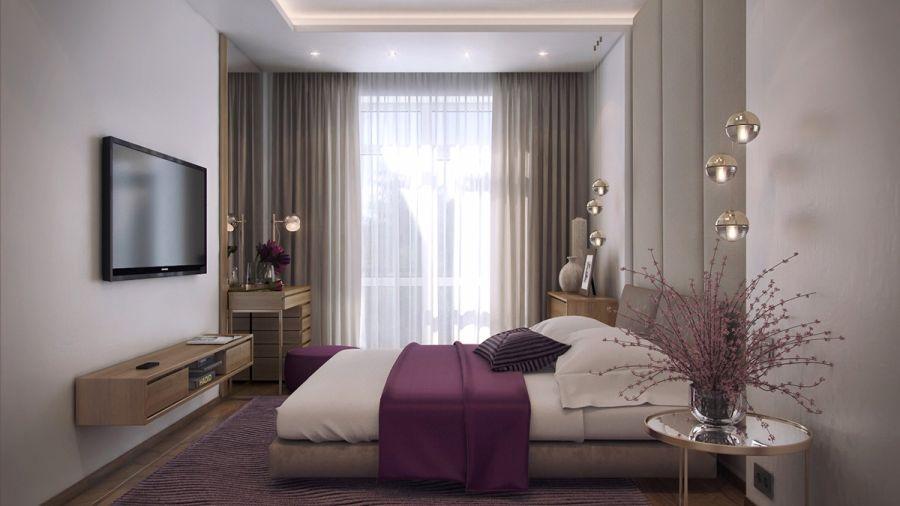 Natúr és homokszínű hálószoba lila ágytakaró