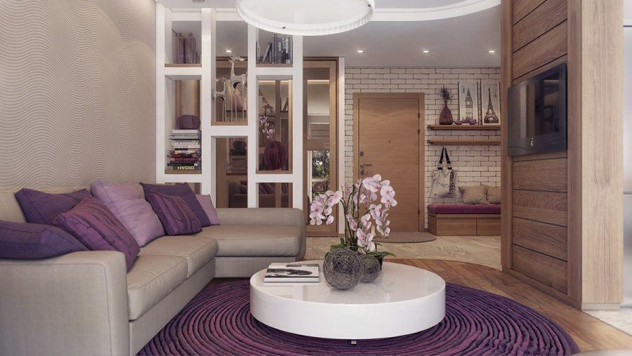 Lila párnák, lila szőnyeg fehér dohányzóasztal