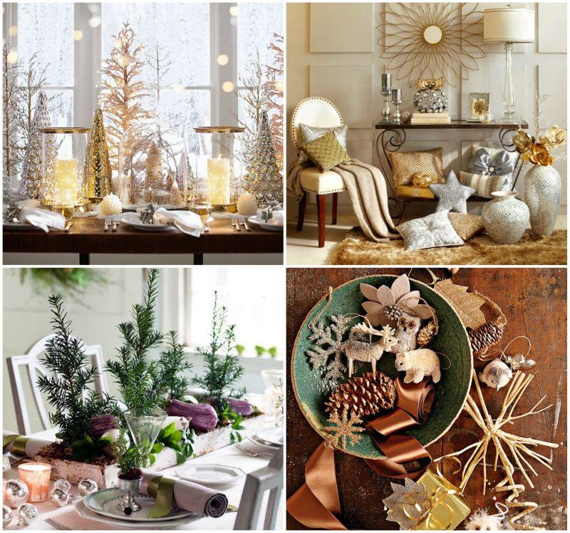 Karácsonyi asztaldekoráció arany színnel