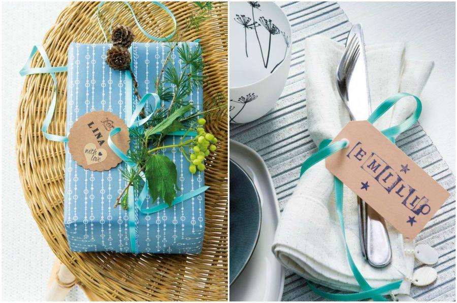 Kék karácsonyi dekoráció, csomagolás, evőeszköz