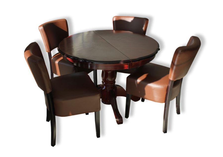 Nagyobbítható kerek étkezőasztal és étkezőszék