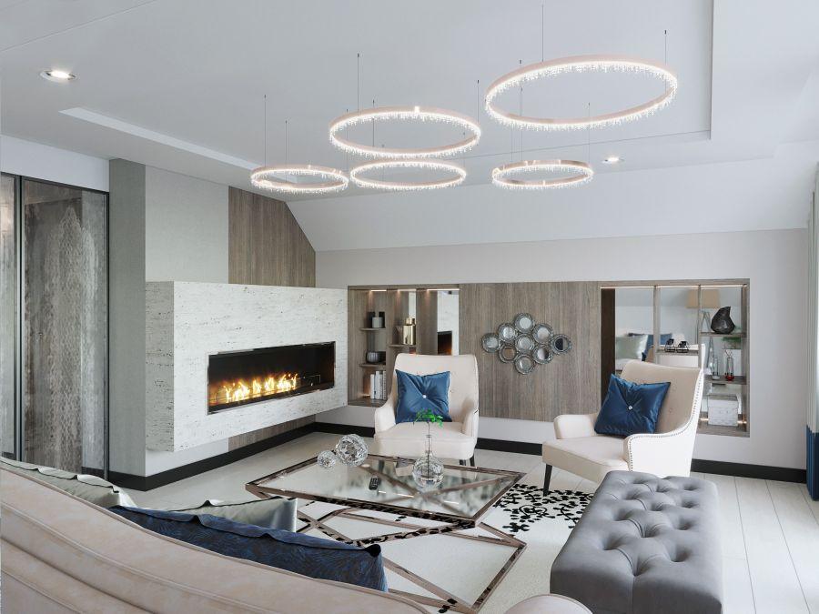 Modern nappali kandallóval Dóró Judit belsőépítész