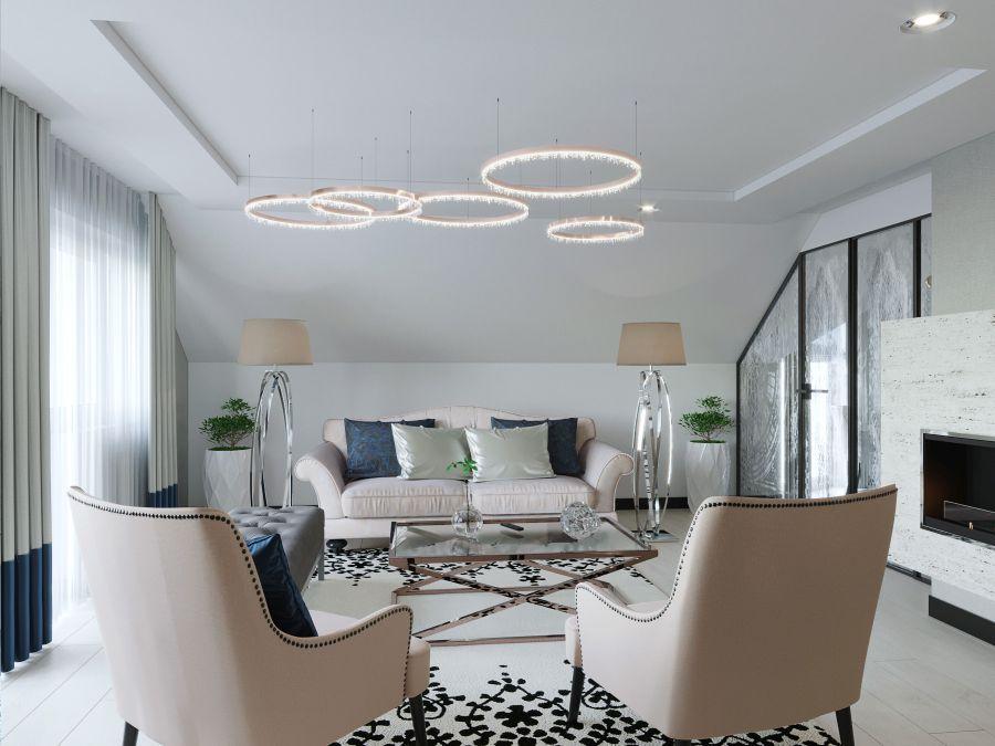 Dóró Judit belsőépítész elegáns art deco stílusú nappali