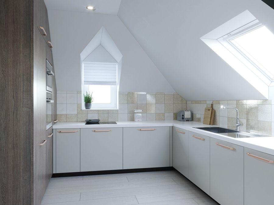 Emeleti konyha sarkos kialakítása