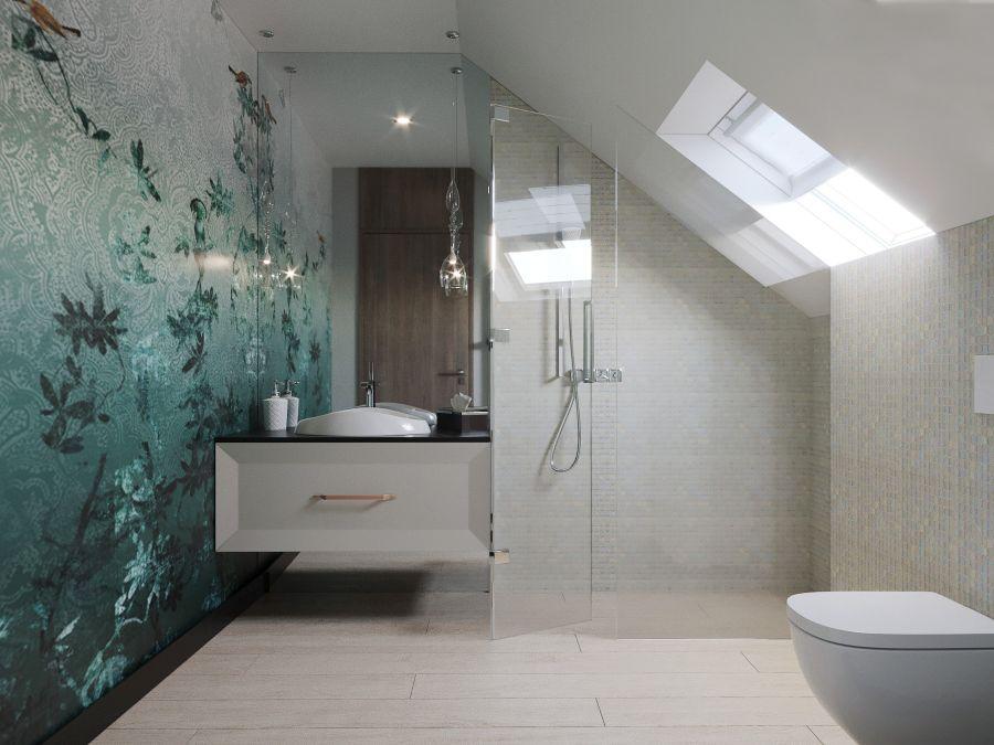 Tetőtéri fürdőszoba vízálló tapétával
