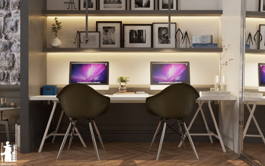 Kétszemélyes dolgozószoba egymás mellett ülve