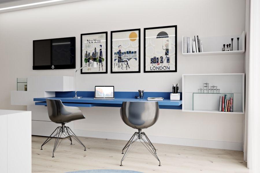 Kék íróasztal ötlet