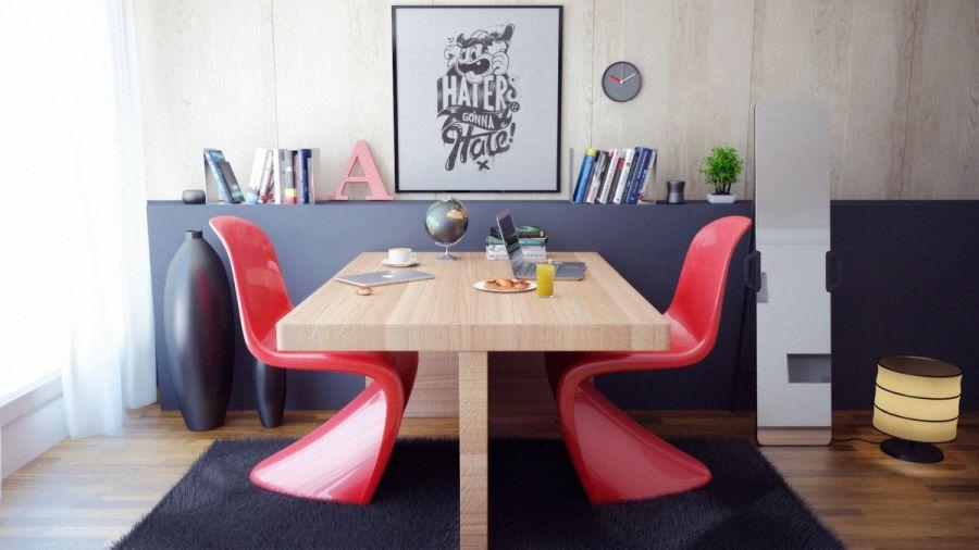 Otthoni dolgozó piros Pantone székek