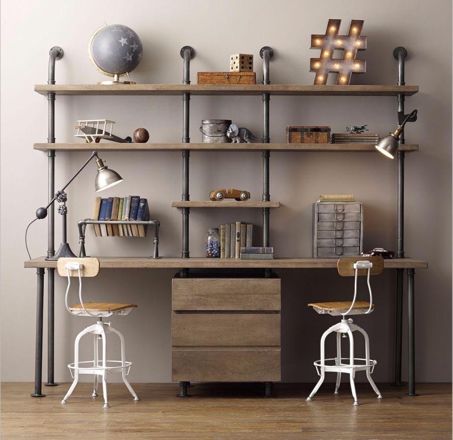 Ipari stílusú íróasztal és polcok