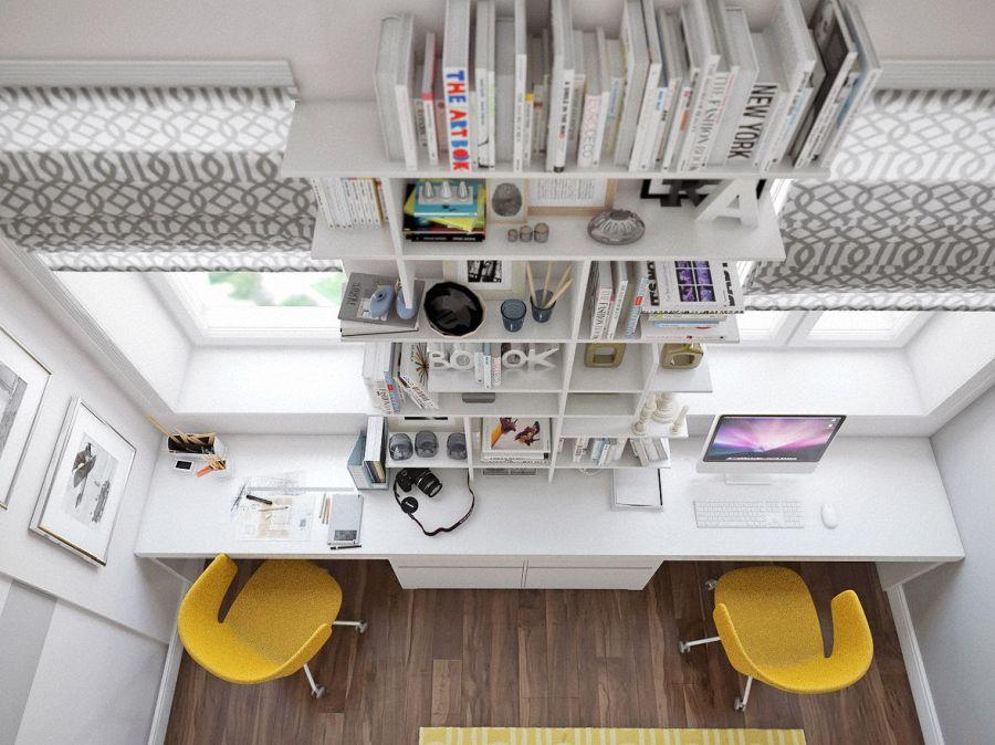 Otthoni íróasztal az ablak előtt