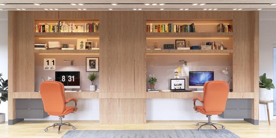 Szekrénybe épített íróasztal elrendezés