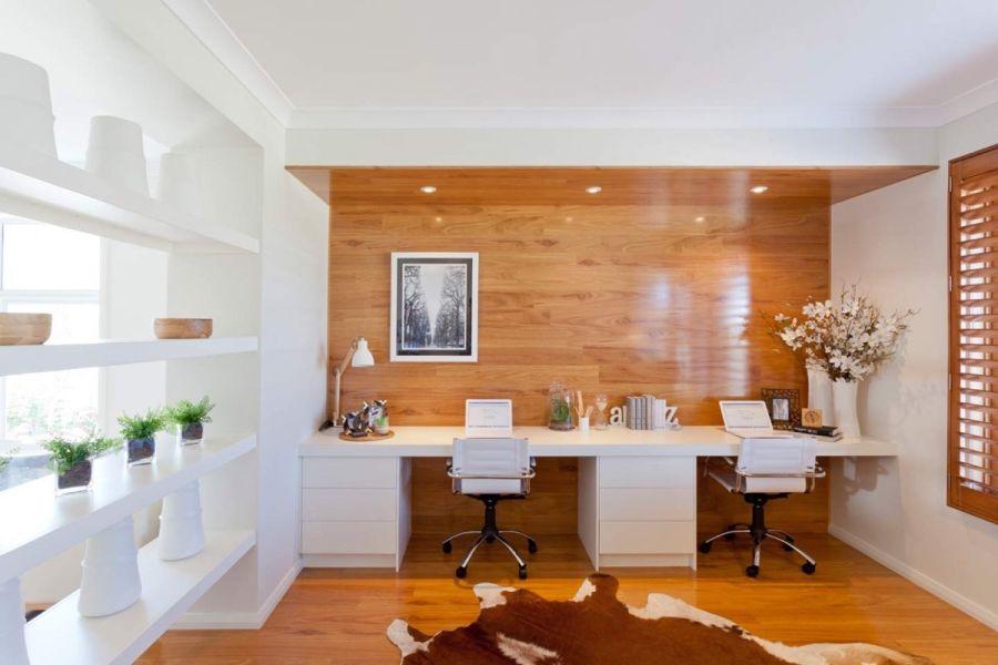 Stílusos modern dolgozószoba fehér bútorok