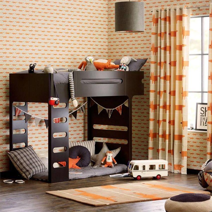 Scion Fox narancssárga tapéta és függöny Home Design Lakberendezés