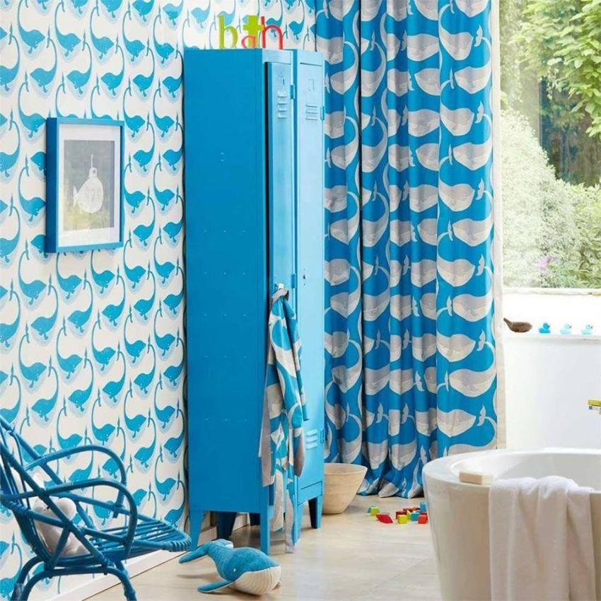 Bálna mintás kék tapéta és függöny Home Design Lakberendezés