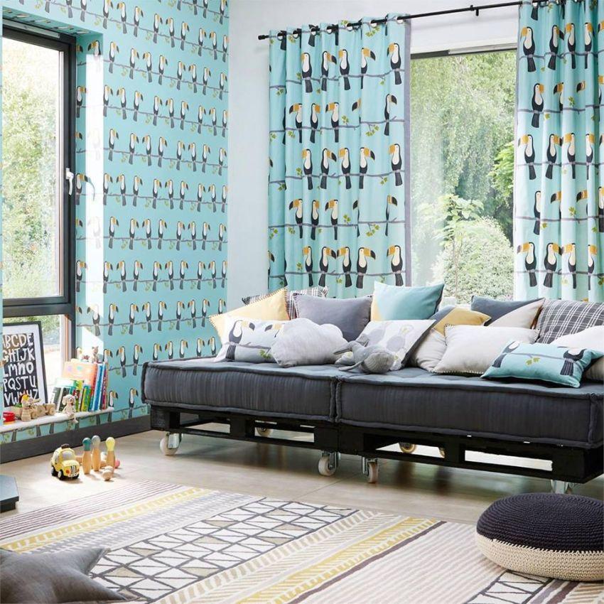 Tukán mintás tapéta és függöny Scion - Home Design Lakberendezés