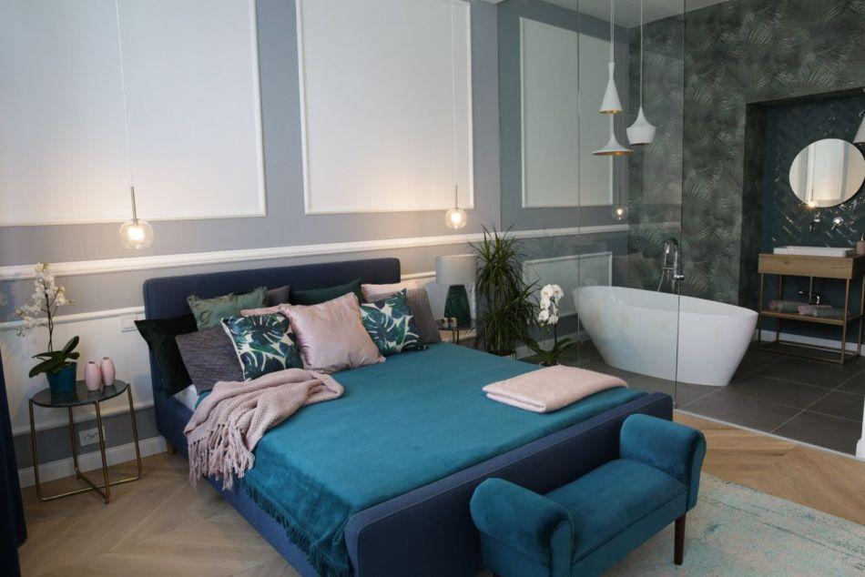 Belvárosi lakás hálószoba lakberendezés