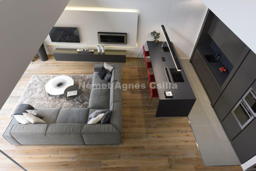 Német Ágnes Csilla - Családi ház lakberendezés Év lakberendezője díj L-alakú kanapé
