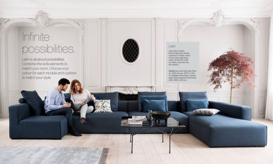 IDdesign sötétkék kanapé
