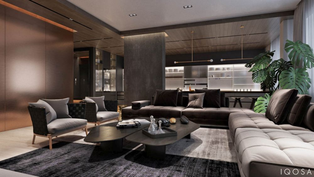 Modern nappali bársony kanapéval