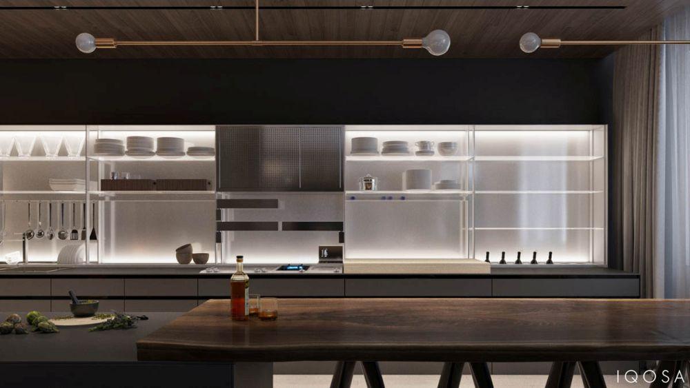 Réz lámpa nyitott konyhaszekrények
