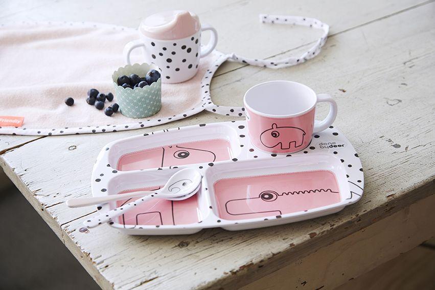 Étkészlet és evőeszköz készlet gyerekeknek,  Done by Deer rózsaszín és fehér