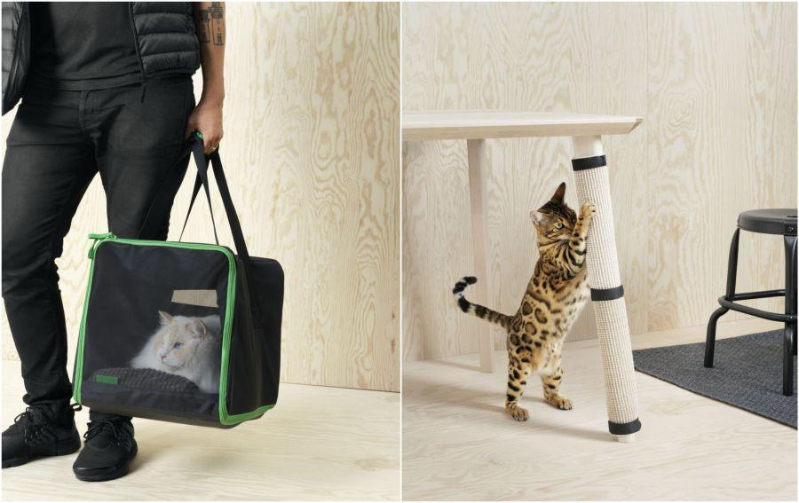 Ikea macskaszállító és karomkoptató asztallábra
