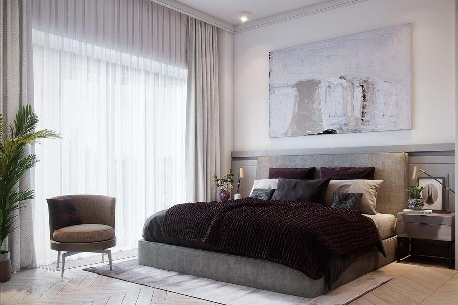 Hálószoba modern festménnyel