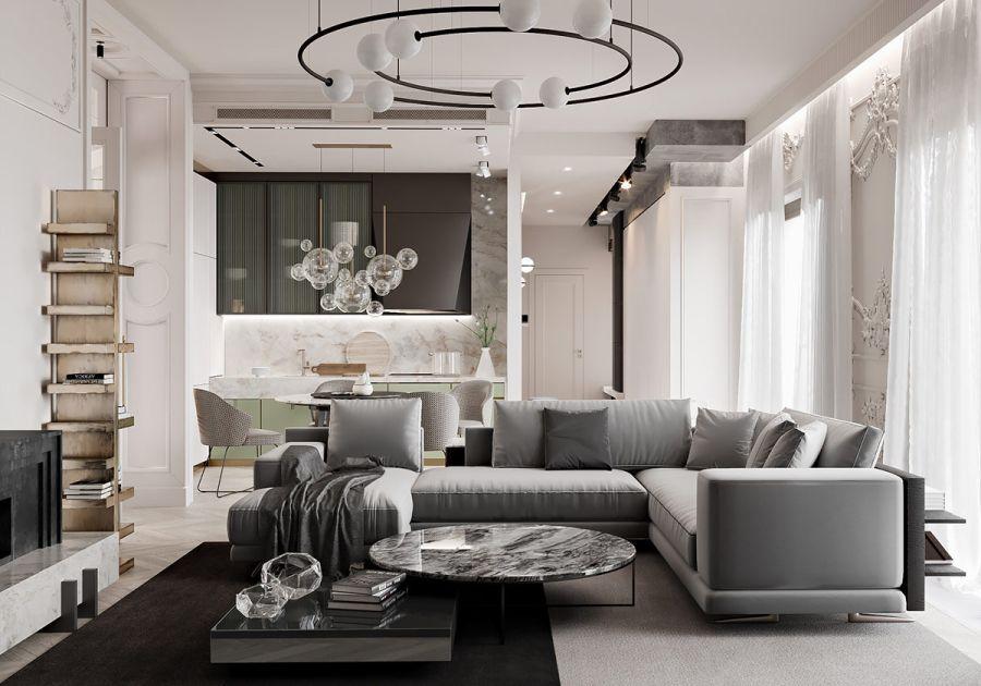 Modern kanapé polgári klasszikus lakberendezés