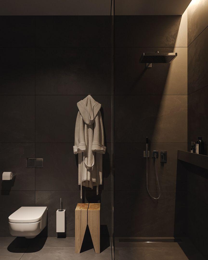 Barna csempe és zuhanyzó a fürdőszobában