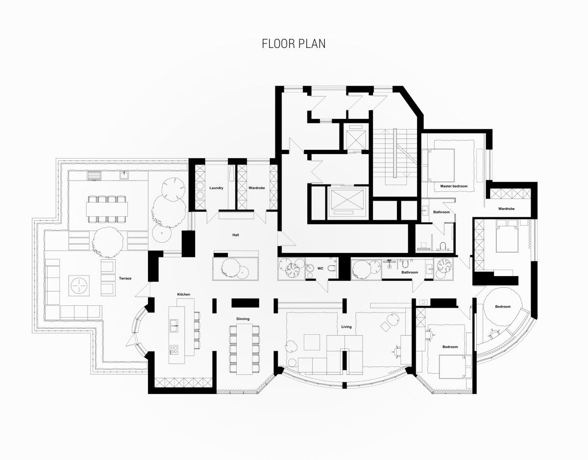 Modern lakás alaprajza