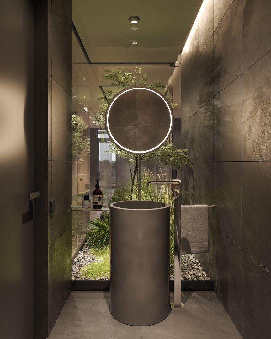 Fürdőszobai magas mosdó kerek tükörrel