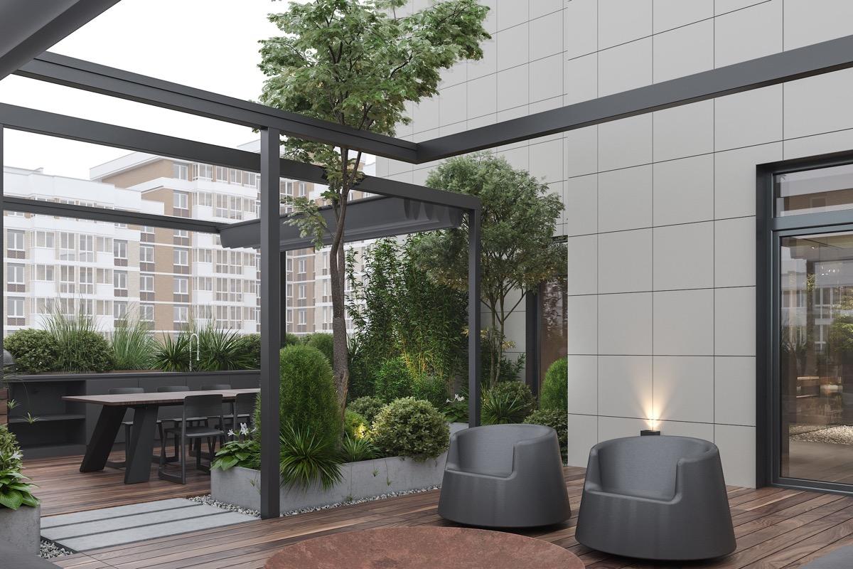 Tetőterasz design fotelekkel