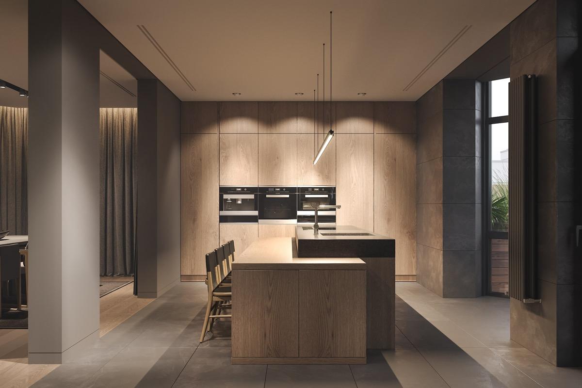 Minimál modern konyha szigettel beépített konyhai gépekkel